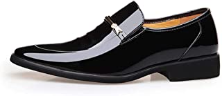 Oxford British Men's Oxford Shoes Comfortable Pointed Durable Business Casual Shoes Breathable Faux Leather Formal Shoes Derby Saddle Shoes (Color : Black, Size : 39)