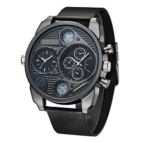 Relojes para hombres Despacho de hombres Relojes para hombre relojes inteligentes Reloj de acero inoxidable Zona de tiempo dual Moda de moda Reloj de cuarzo de moda, correa de correa de malla de acero