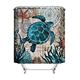 JMAHM Ocean Duschvorhang-Set, wasserdicht, schimmelresistent, Polyester, 180 x 200 cm, bunte Schildkröte