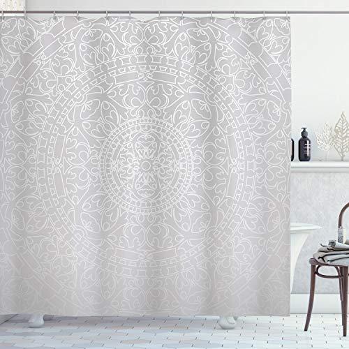 ABAKUHAUS Grau & Weiß Duschvorhang, Orientalisches Design, mit 12 Ringe Set Wasserdicht Stielvoll Modern Farbfest & Schimmel Resistent, 175x200 cm, Grau