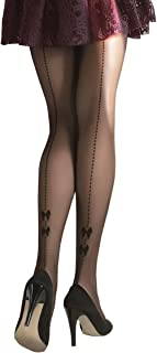 DOT TIGHTS | Women's Sheer Black Tights with DOTS and BOWS SEAM Pattern | Gatta CHIARA 04 [Made in Europe]