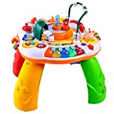 Musical Railway Learning Table Toys of Ohuhu, Multi-Function Educational Toy Game Activity Table, Discover & Play Piano Keyboard, Railway Electronic Learning Toys for Baby Infant Toddlers Kids