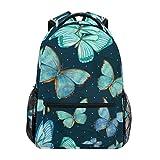 Mochila escolar mariposa primaria universidad mochila para niña niño azul patrón de pintura luciérnaga 2010087