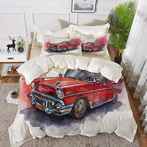 bedding - Duvet Cover Set ,Watercolor,Hand Drawn Old Fashioned Car Antique Motor Vehicle Retro Outdated Abstract A,Hypoallergenic Microfibre Duvet Cover Set with 2 Pillowcase 50 X 75cm