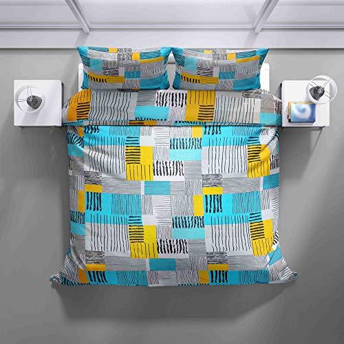 Juego de ropa de cama – 100% algodón – Diseño con líneas abstractas – 2 unidades (1 funda nórdica de 140 x 200 cm + 1 funda de almohada de 70 x 90 – todo el año