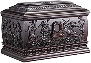Solid Wood Casket, Sandalwood, Men and Women, Urn, 50 Years of Non-Corrosion (Color : H: Songhe Palace - Teak)
