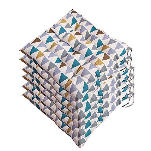 AGDLLYD Lot de 6 galettes de Chaise 40x40, Coussin décoratif Coussin Coussin de Chaise Coussins de Jardin 12 surpiqûres en Un Motifs différents, Polyester (B)