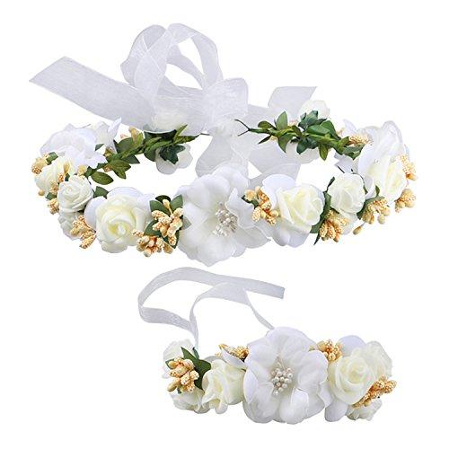 YSXY Frauen Mädchen Blumenkranz Blumenstirnband Blumenkrone Haarkranz Garland Halo mit Floral-Handgelenk-Band für Braut Fotografie Hochzeit, M, Beige