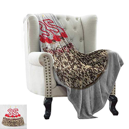 LsWOW Throw Blanket 35th Birthday,Gourmet Dessert Cherry Cake Pie for Party Special Day Age Thirthy Five, Red Brown White Warm & Hypoallergenic Washable Couch/Bed Throws 60'x78'