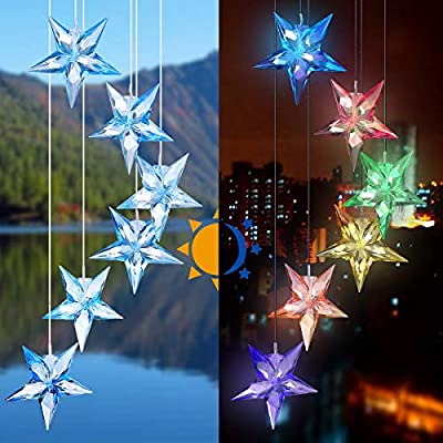 ActionEliters Color Changing Twinkle Star Wind Chime LED Solar Power Waterproof Outdoor Decor Wind Chimes Bell Light for Home, Party, Yard, Garden Decoration