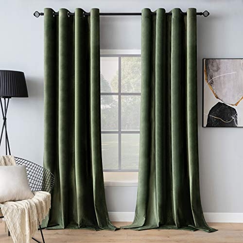 MIULEE Velvet Curtains Olive Green Elegant Grommet Curtains Thermal Insulated Soundproof Room Darkening Curtains / Drapes for Classical Living Room Bedroom Decor 52 x 90 Inch Set of 2