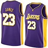 Rongchuang Jersey di Pallacanestro da Uomo, Los Angeles Lakers No.23 James Jersey Traspirante Ricamato per Il Giocatore di Pallacanestro Jersey Uomini Fan Blusa