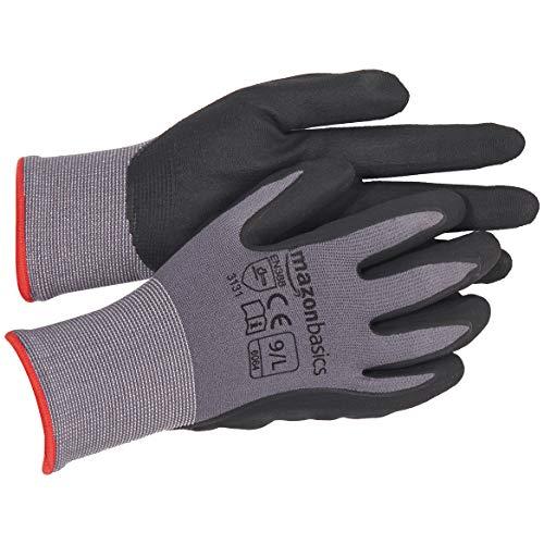 AmazonBasics Micro-Foam Nitrile Coated Work Gloves, Nylon Liner Fiber, Touch Screen, Grey, Size 9, L, 12-Pair