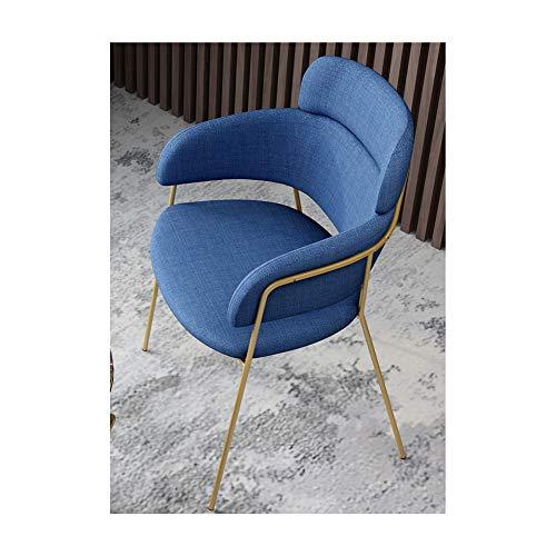 Sillón casero,Silla de sala de patas de metal, silla de madera maciza, sillas de cocina, sillón, silla de sala, sillas de ocio, silla de maquillaje, con respaldo y reposabrazos, estilo simple-blue