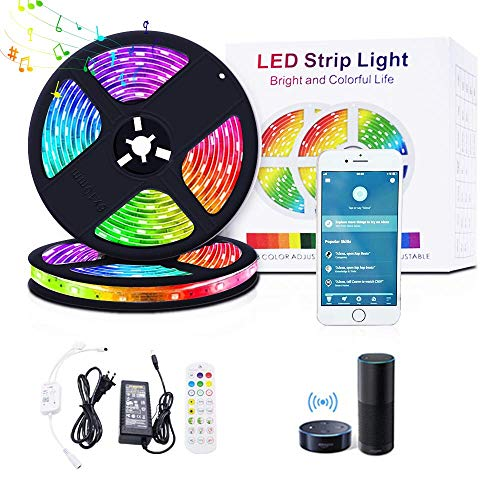 BruAlyXH WiFi Smart LED Strip Lights 32.8FT, Alexa Lights Compatible with Alexa Google Home,Music Sync RGB Color Changing,16Million Colors Lights for Bedroom Home Kitchen, TV, Party and Festival
