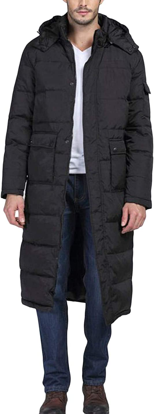 HaoMay Men's Winter Warm Long Coat Removable Hooded Cotton-Padded Puffy Jackets