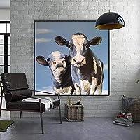 """現代の水彩画の牛の写真壁画のポスターとプリントは、リビングルームの家の装飾のためにキャンバスに印刷されています23.6"""" x 23.6""""(60x60cm)フレームレス"""