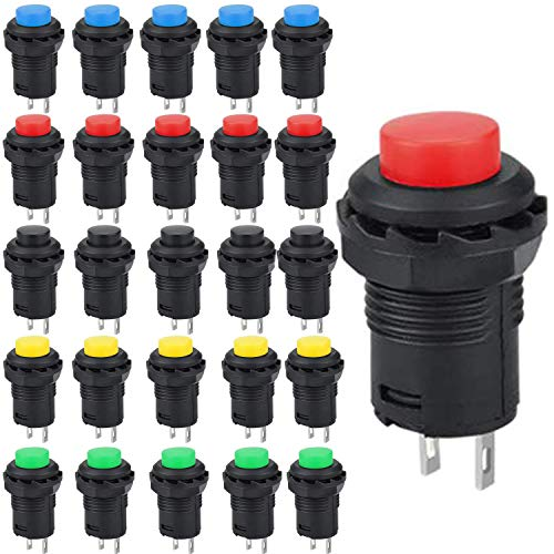 Runcci-Yun 25pcs Pulsador 12mm,Pulsadores Electricos Boton,Pulsador Mini,Pulsador Redondo,Interruptor Momentaneo 12v, Para Trompeta...