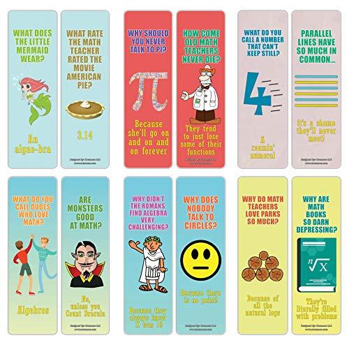 Creanoso Funny Jokes Puns Math Bookmarks (30-Pack) – Stocking Stuffers Gift for Math Teachers, Students, Men & Women, Teens, Professionals – Math Class Rewards – Teaching Incentives – Book Clip