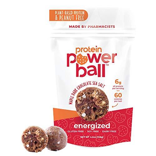 Protein Balls by Protein Power Ball | On-The-Go Protein Snacks | Vegan Snacks | Gluten Free, Dairy Free, Soy Free Snack | Peanut-Free Snacks | Energy Bites (Maple Dark Chocolate Sea Salt, 2 Pack)