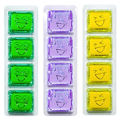Kaplan Early Learning Company Glo Pals Light Up Water Cubes - 12 Cubes in Green  Purple & Yellow