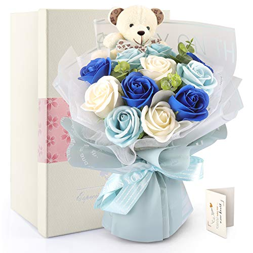 YOBANSA lovely童話ストーリー 11輪フラワーソープ(ベア1匹、ローズ11輪) 造花 枯れない花 花束 くま束 ...