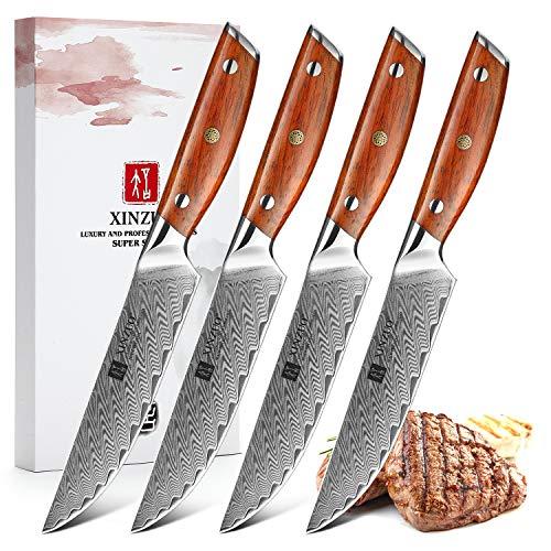 XINZUO Damaststahl 4-teilig Steakmesser Set, 12.7cm Premium Besteckmesser Set Scharfe Steakbesteck Küchenmesser, Tafelmesser für Heim und Restaurant, mit Geschenkbox- Rosewood Griff-Yi Serie