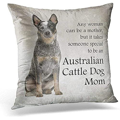 TaiLanQu Pet Australian Cattle Dog Animal Cojín Funda de Almohada Decoración del Hogar Dormitorio Coche Sofá Funda de Almohada Size18X18Inches 45X45CM