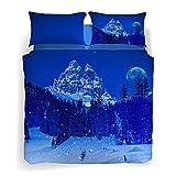 Caleffi Snow in the blue nigh Completo Copripiumino, Cotone , Unica, Matrimoniale, 1001388 , Sogni di...