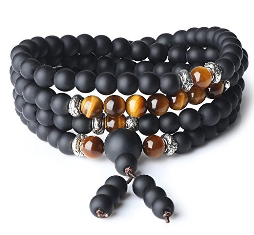 COAI Bracciale Collana 108 Perle Mala in Onice Opaca e Occhio di Tigre Marrone, Bracciale Tibetano da Preghiera in Pietre Semi-preziose