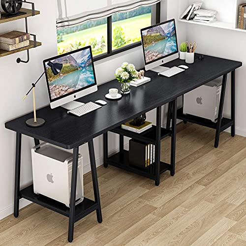 Tribesigns Two Person Desk, 94.5 Inch Double Computer Desk with Storage Shelves, Large Gaming Desk Studying Writing Workstation for Home Office, Black