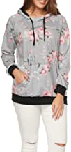 UNBRUVO Fashion Womens O Neck Stripe Floral Print Long Sleeve Causal Hooded Top Blouse Sweater Sweatshirt with Pocket
