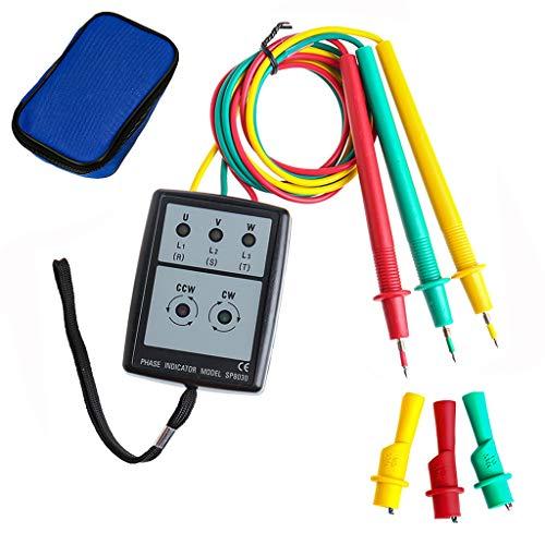 SP8030 Digitaler Phasendrehungsanzeiger 3-Phasen LED Spannungsprüfer Sequenzzähler mit Summer Anzeige AC Spannung 200V -480V Tester