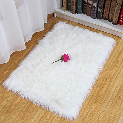 SXYHKJ Lammfell-Teppich Lang Kunstfell Schaffell Imitat | Wohnzimmer Schlafzimmer Kinderzimmer | Als Faux Bett-Vorleger oder Matte für Stuhl Sofa (weiß, 75x120cm)