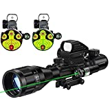 MidTen 4-16x50 Tactical Rifle Scope Dual Illuminated Optics & Rangefinder Illuminated Reflex Sight 4 Holographic Reticle Red/Green Dot Sight & IIIA/2MW Laser Sight (Green)