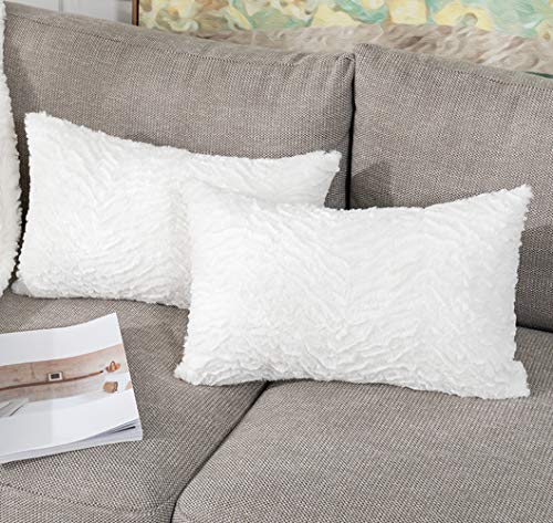 Vfuty Pack of 2 Faux Fur Throw Pillow Covers Luxury Style Lumbar Pillow Case Cushion Cover Rectangle Pillowcase for Bed Couch and Chair, 12 x 20 Inches 30 x 50 cm…