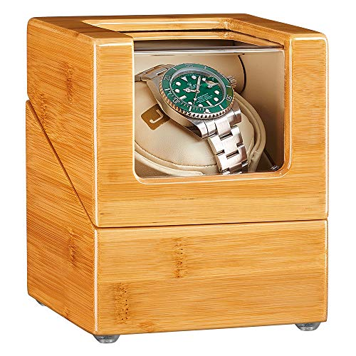 Single Watch Winder Box for Automatic Watches, 100% Bamboo Wood by JQUEEN