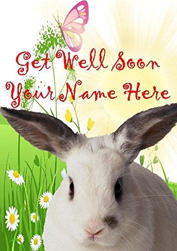 Tarjeta de felicitación personalizada de Rabbit He2, con diseño de flores de jardín, para todo el año 2016 de Derbyshire UK