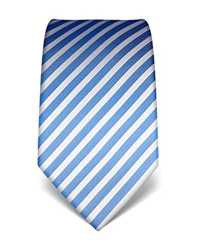 Vincenzo Boretti Corbata de hombre en seda pura, de rayas azul/blanco