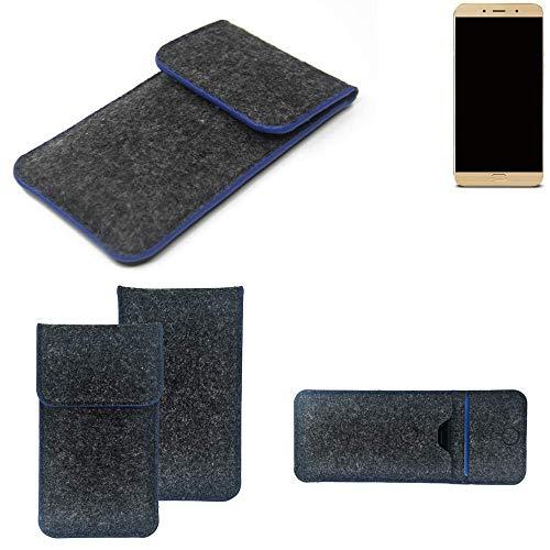 K-S-Trade Handy Schutz Hülle Für Allview X4 Soul Lite Schutzhülle Handyhülle Filztasche Pouch Tasche Hülle Sleeve Filzhülle Dunkelgrau, Blauer Rand