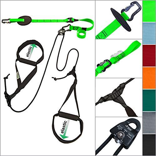 eaglefit Sling-Trainer Allround Elastic, Fitnessgerät, Schlingentrainer inkl. Umlenkrolle, Längenverstellung 90-310 cm, für Profis & Beginner, Happy Green