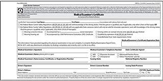 medical examiner's certificate wallet card