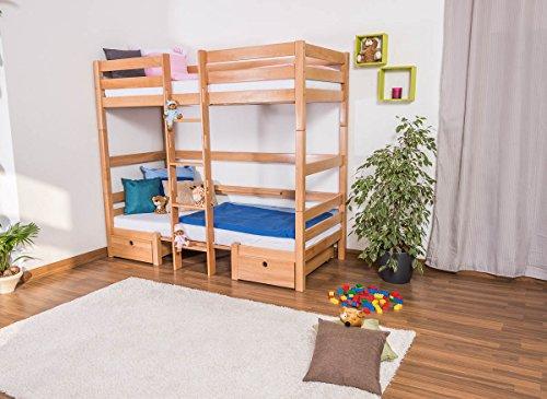 Kinderbett/Etagenbett/Funktionsbett Tim (umbaubar zu einem Tisch mit Bänken oder zu 2 Massivholzbetten) Buche massiv natur inkl. Rollrost - 90 x 200 cm