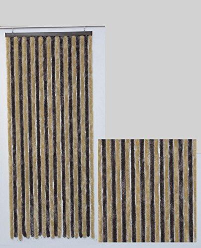 Rideau de porte Chenille Bicolore Largeur 90 cm x Longueur 210 cm (Taupe et Beige 55150632)