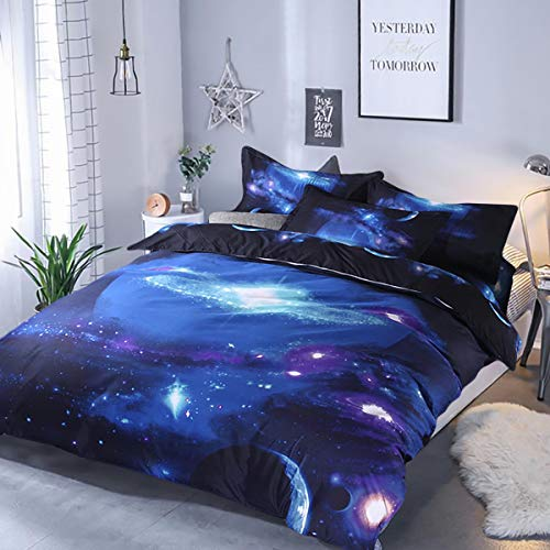 Galaxy Duvet Cover Double Reversible Sky Universe Space Printed Bedding Quilt Cover with Zipper Closure for Girls Boys Kids Soft Microfiber 200x200cm