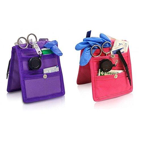 Pack 2 Salvabolsillos enfermera Keen's para bata o pijama, Colores: 1 morado y 1 rosa, Lote ahorro, Medidas: 14,5 x 12 cm, Elite Bags
