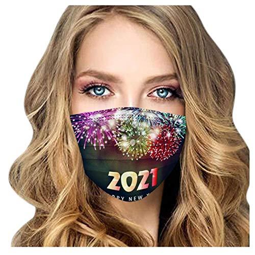 100 Stück Mundschutz Einweg, atmungsaktive Gesichtsbedeckung mit 2021 Motiv, Mundhülle, Nasenschutz, Erwachsener(R)