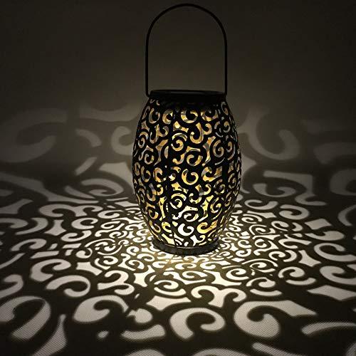 LYXMY Linterna LED solar de viento, lámpara colgante vintage impermeable silueta marroquí ahuecada hacia fuera de la nube de Aspecto Propicio al aire libre, patio, jardín, iluminación (negro)