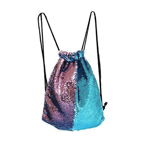 Eyourlife Mermaid Paillettes Zaino con Lacci Glittering Outdoor Tracolla, Winmany Magic Reversibile Glitter Coulisse Zaino, Moda Bling Shining Bag, Borsa Zaino Sportivo (Blue/Pink)