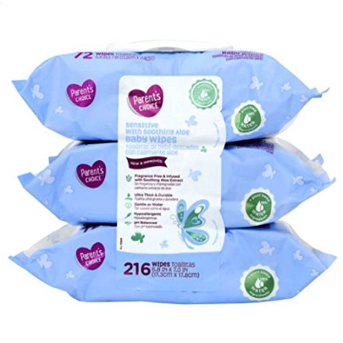 Parents Choice Sensitive Care Aloe Baby Wipes, 3 Flip-Top Packs (216 Total Wipes)